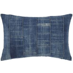 "JR Fabric backed with Vintage Denim 312 $185.00 While traveling around the world to different countries, I always find amazing textiles from local dealers in different markets. We take the antique textiles and make them into one-of-a-kind pillows. From India, to Uzbekistan to Thailand, each pillow tells a story and shows the craftsmanship of the skilled artisans who made them. Backed with John Robshaw Fabric. This item is available in a pair. Includes insert for 12"" x 18"" pillow."