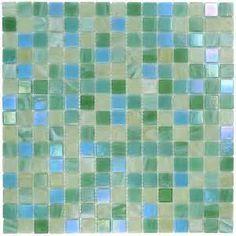 Blue green glass tiles kitchen