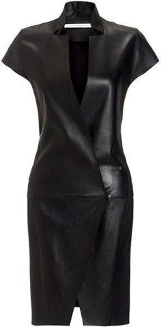 FELIPE OLIVIERA BAPTISTA Black Leather Mini Dress -Resized By ShazB