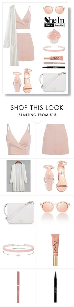"""""""Untitled #294"""" by georgia-sarantinou ❤ liked on Polyvore featuring Topshop, Steve Madden, Furla, Miss Selfridge, Too Faced Cosmetics and Trish McEvoy"""