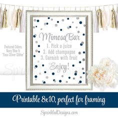 Mimosa Bar Party Sign  Navy Blue Silver Glitter by SprinkledDesign