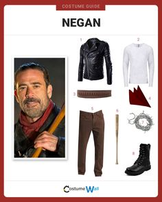 Be dressed to take on zombies like Negan, played by Jeffrey Dean Morgan, the feared leader of the Saviors, from the TV show The Walking Dead on AMC. Walking Dead Halloween Costumes, Walking Dead Cosplay, Couple Halloween Costumes, Cool Costumes, Halloween Kids, Costume Ideas, Walking Dead Clothes, Walking Dead Art, Outfits