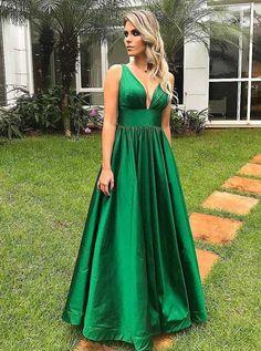 Simple v neck green long prom dress, green evening dress