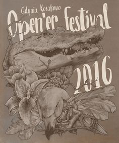 Open'er Festival 2016 T-shirt Competition #drawing #pencil #animals #illustration #swan #crocodile #flowers