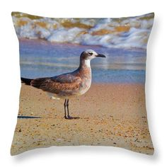 Seagull Throw Pillow featuring the photograph Seagull In Colored Surf by Scott Hervieux