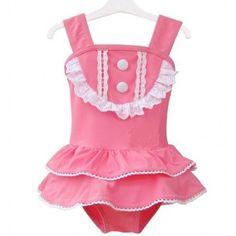 Vintage Inspired Girls Clothes Vindie Baby Pink Swimsuit One Piece Swimming Suit Vintage Girl Bathing Suit | Vindie Baby