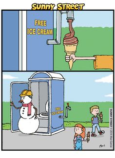 Free icecream - Sunny Street Comic Strip, March 27, 2014 on GoComics.com
