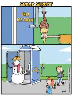 Free icecream - Sunny Street Comic Strip, March 27, 2014 on GoComics.com