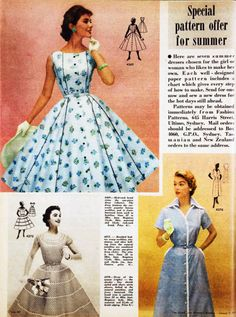 Dress patterns for summer, 1957.  I remember my Mom having the bottom right dress made for her by a friend.