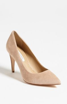 nude suede. perfect for skirts & dresses. Diane von Furstenberg 'Anette' Pump available at #Nordstrom