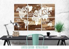 world map wall wooden continents - Google Search