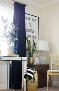 Navy velvet curtains & a new workspace