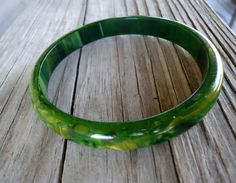 vintage Bakelite green Swirl Bangle yellow and hints of blue chunky bracelet end of day