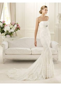 Exquisite Mermaid Lace Design Long Strapless Petite Wedding Gown.