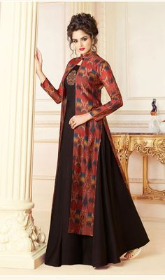 Black Indo Western Maxi Dress With Jacket Maxi Dress With Jacket, Dress Pants, Gown Party Wear, Party Gowns, Latest Dress Design, Latest Kurti Designs, Indowestern Gowns, Western Dresses For Women, Cotton Gowns