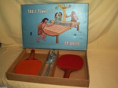 ST BRITE TABLE TENNIS PING PONG SET VINTAGE TOKYO JAPAN AS IS PADDLES SUPPORTS #StBrite