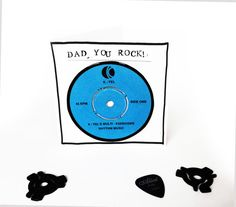 Dad You Rock  Vinyl Fathers Day Card by melodiesjewellery on Etsy