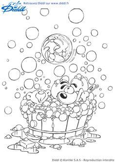 Dessin à colorier de Diddl la souris et son ami Pimboli qui prennent le bain