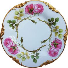 Gorgeous Vintage J.P.L. Limoges France 1900's Hand Painted 'Red Roses' Floral Plate
