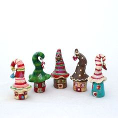 Christmas Mini House Gnome Home Handmade Polymer Clay Candy Stripe Cute little clay houses by kirby. Polymer Clay Kunst, Polymer Clay Fairy, Fimo Clay, Polymer Clay Projects, Polymer Clay Creations, Christmas Minis, Christmas Crafts, Christmas Photos, Christmas Houses