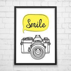 Printable Wall Smile photo camera Art от MotivationalThoughts