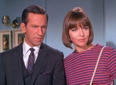 Get Smart - Somewhat politically incorrect by today's standards... probably why it's not so popular any more. Agent 99 was a few inches taller than 86. Don Adams apparently didn't like her being taller. So she's always leaning to look shorter...