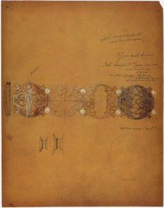 Study for bracelet with four elements - Woman and Thistles René Lalique c. 1900