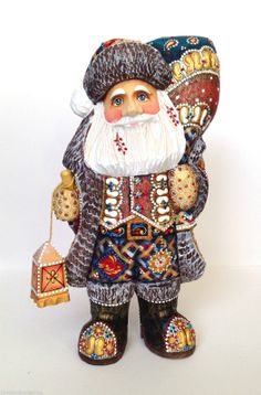 """Russian Santa""""Father Frost"""" Wooden Hand Carved Hand Painted Signed Father Frost 