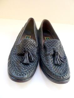 f444f12c2a3 Items similar to Vintage Cole Haan Shoes Womens Leather Loafers Womens  Tassel Shoes Womens Black Leather Slip ons Woven Leather Shoes on Etsy