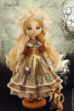 Купить Алена - бежевый, кукла, кукла ручной работы, кукла в подарок, кукла интерьерная