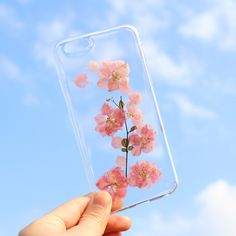 Handmade Real Pressed Flower Sakura Soft TPU Clear Case for iPhone 6 Plus / 6S Plus 5.5 inch