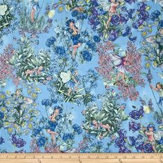 Michael Miller Flower Fairies Hidden Fairies Periwinkle from @fabricdotcom Designed for Michael Miller Fabrics, this fabric features adorable flower fairies hidden among flower bouquets, and is perfect for quilting and craft projects. Colors include rose, aster blue, cornflower blue, peach and soft green on a periwinkle background with silver metallic accents throughout.: