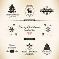 Free Vector vintage label card merry Christmas logo design elements illustration