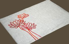 Orange Placemat Linen Placemats set of 4 Natural Linen by KainKain