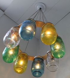 SEA GLASS Mason Jar Chandelier  Upcycled Hanging by BootsNGus, $210.00