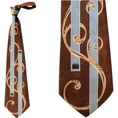 Dynamic 1940s -1950s Vintage Men's Necktie Art Deco Print from Toinette's Vintage Clothing at RubyLane.com