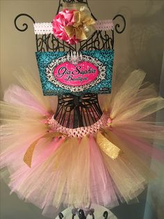 Gia Sophia Boutique pink and gold themed tutu with custom headband.