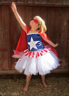 Captain AmeriGirl costume with tutu corset top cape and mask