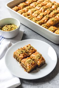 Turkish Baklava is a deliciously rich dessert made from phyllo dough, pistachios, butter, and a syrup made from sugar, water and lemon juice. Lebanese Baklava Recipe, Pistachio Baklava Recipe, Turkish Baklava, Greek Baklava, Albanian Recipes, Turkish Recipes, Scottish Recipes, Heavenly Dessert Recipe, Waffle Iron Cookies