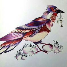 Bird - Enchanted Forest. Pássaro - Floresta Encantada. Johanna Basford