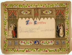 Marriage Certificate, 1800s. Horizontal chromolithograph marriage certificate framed by Gothic Architectural elements and floral border, with a marriage scene on either side. The certificate is blank: there are no names or signatures. Missouri History Museum. collections.mohistory.org #1800swedding #19thcentury