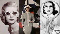 Bolsa e óculos anos 50 ANOS 50 – Marcados pelo uso dos óculos gatinho, também usava-se muitas luvas que deveriam combinar com as bolsas.
