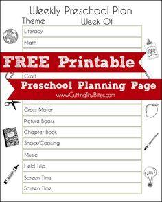 Weekly theme preschool planning page. Great free printable to help plan your homeschool pre-k week!