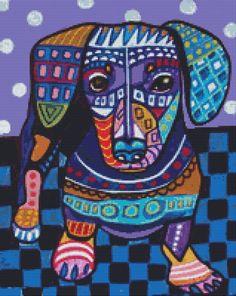 Modern Cross Stitch Pattern 'Dachshund Doxie' By by GeckoRouge, $25.00