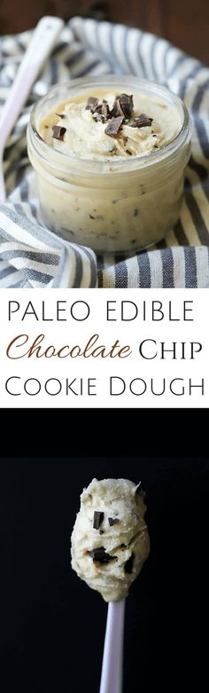 Paleo Edible Chocolate Chip Cookie Dough - 5 minutes is all you need! | wickedspatula.com