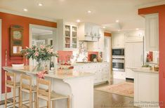 I think I might have to paint cabinets white for it all to flow in my greatroom.but we& save that till last. I& probably keeping most of the walls neutral. Coral Kitchen, Peach Kitchen, Kitchen Colors, Kitchen Decor, Orange Kitchen, Kitchen Ideas, Paint Cabinets White, White Kitchen Cabinets, Gray Cabinets