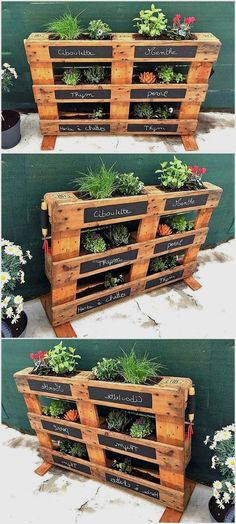 You will love this collection from Pallets Garden Ideas DIY Project and we will be happy to help you… - Diy Garten - Garden Decor Pallet Garden Ideas Diy, Pallets Garden, Pallet Crafts, Diy Pallet Projects, Woodworking Projects, Diy Garden, Woodworking Jigsaw, Wood Projects, Herb Garden