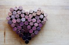 Wine cork heart, DIY, romance theme, wine lover, purple, ombre