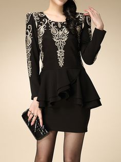Black Long Sleeve Vintage Pattern Embroidery Ruffle Dress - Fashion Clothing, Latest Street Fashion At Abaday.com