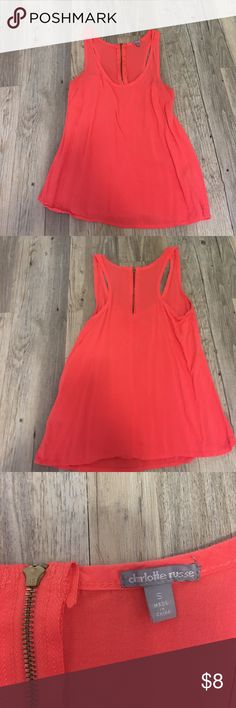 Cute Coral Tank with Gold Accent Zipper Worn less than 10 times Charlotte Russe Tops Tank Tops